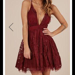 Wine color party dress